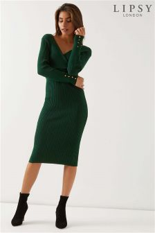 Lipsy Wrap Front Midi Dress With Button Detail