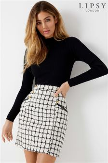 Lipsy 2 In 1 Turtle Neck Check Dress