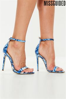 Missguided 2 Strap Barely There Palm Print Sandals