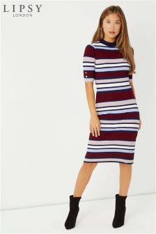 Lipsy Stripe Midi Dress With Button Detail