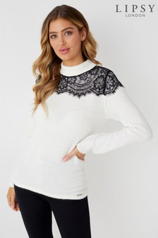 Lipsy Lace Turtle Neck Jumper