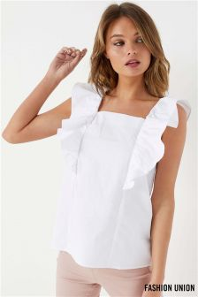 Fashion Union Square Neck Ruffle Top