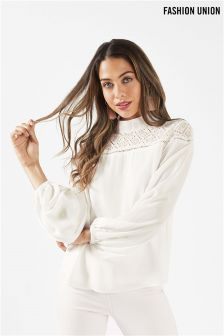 Fashion Union High Neck Blouse With Lace Insert