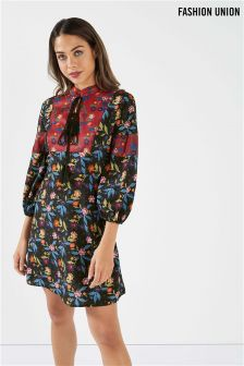 Fashion Union Mixed Print Tie Front Dress With Volume Sleeve