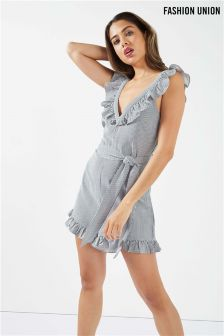 Fashion Union Ruffle Stripe Playsuit