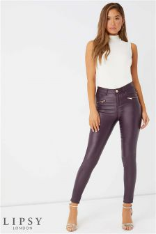 Lipsy Kate Short Length Zip Plum Coated Skinny Jeans