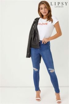 Lipsy Kate Short Length Mid Blue Ripped Skinny Jeans