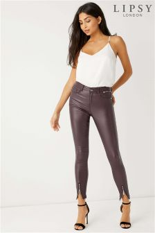 Lipsy Kate Ankle Zip Plum Coated Skinny Jean