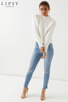 Светлые джинсы скинни стандартной длины с высокой талией, люверсами и рваной отделкой Lipsy Selena