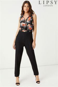 Lipsy Floral Zip Front Jumpsuit