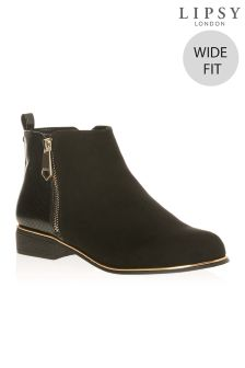 Lipsy Wide Fit Flat Ankle Boots