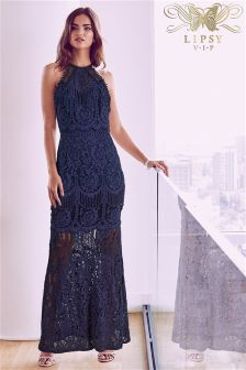 Lipsy VIP Lace Halter Neck Maxi Dress