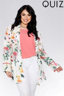 Quiz Curve Floral Print Tie Waist Kimono Jacket