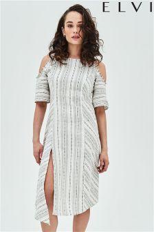 Elvi Cut-out Shoulder Stripe Dress