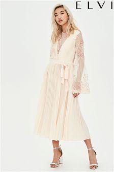 Elvi Pleat Lace Dress