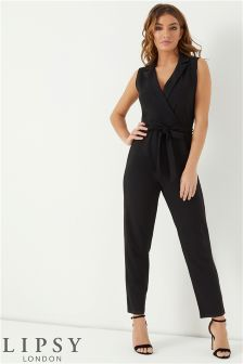 Lipsy Petite Collared Wrap Jumpsuit