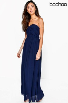 Boohoo Petite Pleated Bandeau Maxi Dress