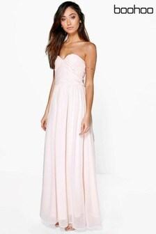 Boohoo Petite Pleated Bandeau Maxi Dress