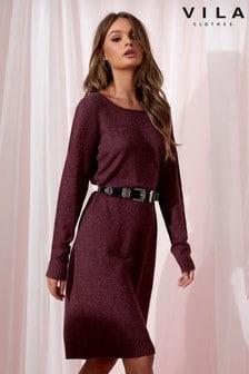 Вязаное платье с длинным рукавом Vila
