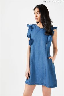 Mela London Denim Ruffle Dress