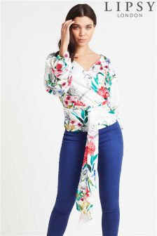 Lipsy Satin Floral Wrap Top