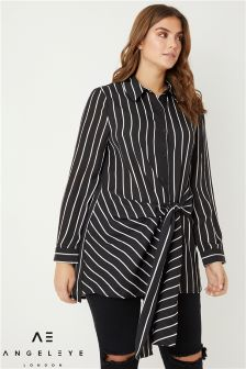 Angeleye Curve Striped Tie Front Shirt