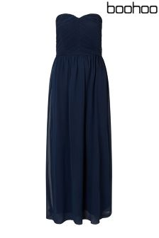 Boohoo Plus Maya Pleated Top Bandeau Maxi Dress