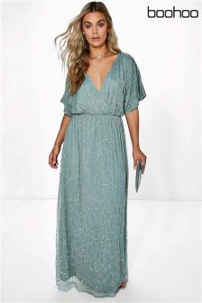 Boohoo Plus Rose All Over Sequin Maxi Dress