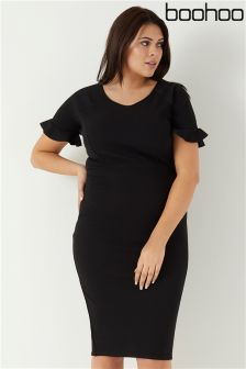 Boohoo Plus Mel Ruffle Sleeve Tailored Midi Dress