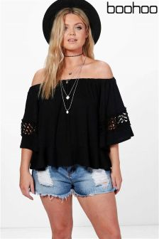 Boohoo Plus Emma Off The Shoulder Crochet Top