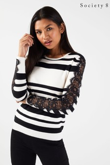 Society 8 Stripe Lace Sleeve Jumper
