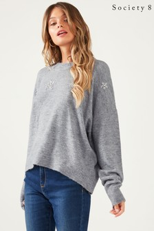 Society 8 Embellished Heart Jumper
