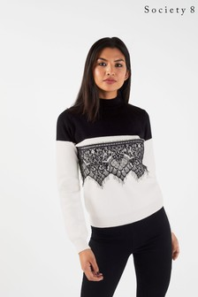 Society 8 Colour Block Lace Jumper