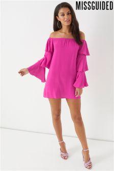 Missguided Crepe Bardot Tiered Sleeve Mini Dress