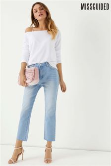 Missguided Raw Hem Light Wash Jeans