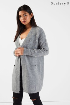 Society 8 Pearl Embellished Longline Cardigan