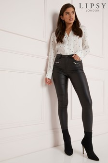 Lipsy Kate Petite Length Plum Coated Skinny Jean
