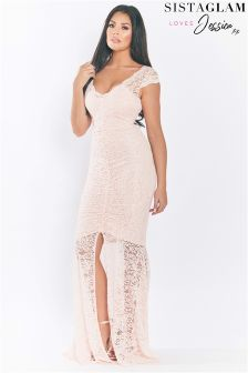 Sistaglam Loves Jessica All Over Lace Ruching Maxi Dress