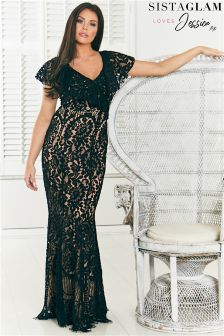 Sistaglam Loves Jessica Off The Shoulder Frilled All Over Lace Maxi Dress
