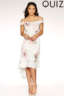Quiz Mesh Floral Bardot Dip Hem Dress