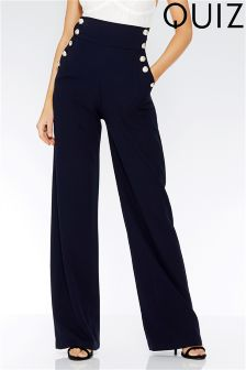 Quiz High Waist Button Detail Trousers