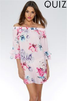 Quiz Floral Bardot Frill Tunic Dress