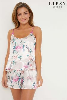 Lipsy Emma Print Floral Satin Cami and Short Set