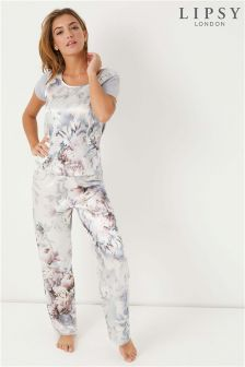 Lipsy Print Satin T-Shirt And Trouser Set