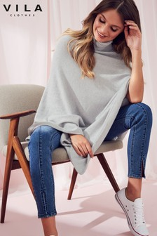 Vila Roll Neck Knit Poncho