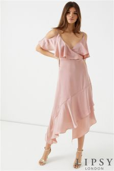 Lipsy Satin Asymmetric Ruffle Cold Shoulder Maxi Dress