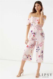 Lipsy Stella Print Bardot Culotte Jumpsuit