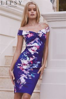 Lipsy Lucia Figurbetontes, bedrucktes Bardot-Kleid