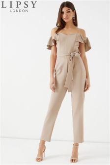 Lipsy Tie Waist Tailored Bardot Jumpsuit