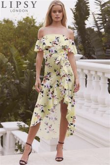 Lipsy Sasha Print High Low Bardot Maxi Dress